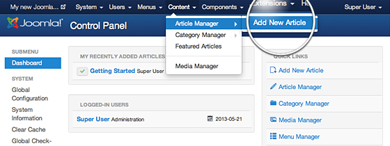 joomla email link in article