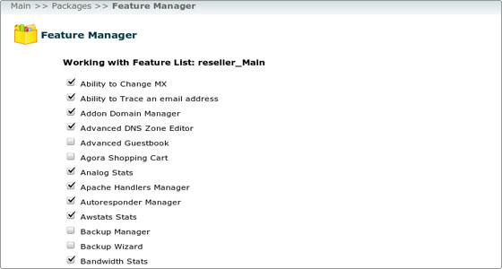 feature list