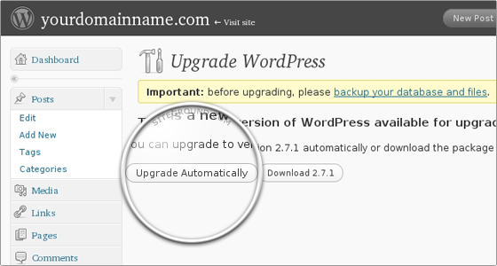How to update WordPress from Admin panel?
